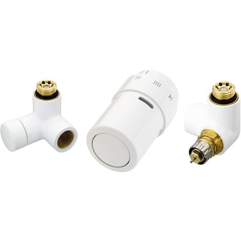 Kit tête thermostatique blanc montage - tête à droite OU à gauche