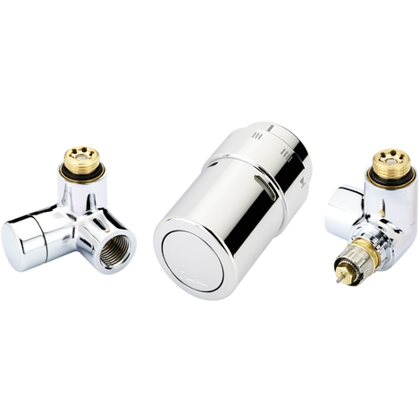 Kit thermostatique X-tra sèche-serviettes - montage tête à droite - chromé - Danfoss 013G4003