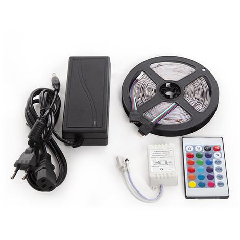 Kit Tira 150 LEDs 36W RGB Blister Transformador, Controlador, Mando a Distancia IP25 | RGB (GR-BLISRGB36W)