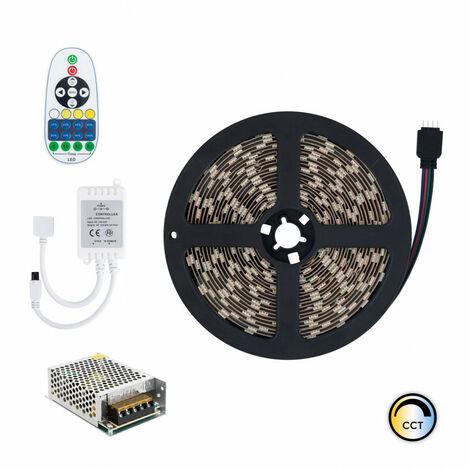 Kit Tira LED 12V DC 60LED/m 5m CCT Seleccionable IP20 con Fuente de Alimentación y Controlador Seleccionable (Cálido-Neutro-Frío)