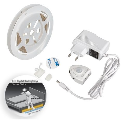 Kit Tira LED para Camas 3W 12V IP20 Dimable con Fuente de Alimentación y Sensor de Movimiento (1.20 metros) Blanco Cálido 3000K | IluminaShop