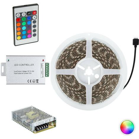 Kit Tira LED RGB 24V DC 60LED/m 5m IP65 con Fuente de Alimentación y Controlador RGB - RGB