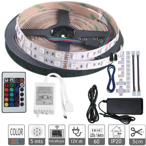 Kit tira led RGB 5 mts mando fuente 12V conectores