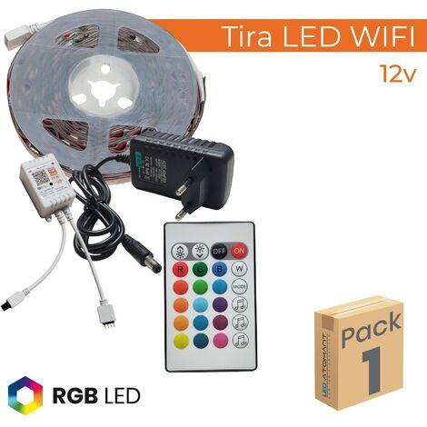 KIT Tira LED RGB Wifi 5M 12V 14,4W/m 120LED/m Corte 10cm A++   Pack 20 Uds. - Pack 20 Uds.