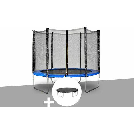 Kit trampoline Jardideco Cronos Ø 3,66 m Bleu + Bâche de protection