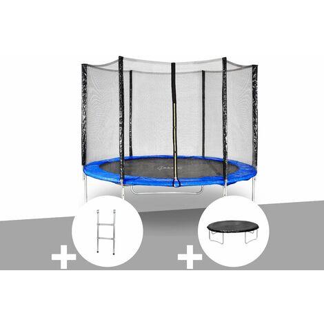 Kit trampoline Jardideco Hélios Ø 3,05 m Bleu + Echelle + Bâche de protection