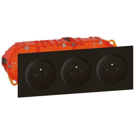 Kit triple prise de courant 2P+T Surface dooxie 16A précâblées finition noir (300406)