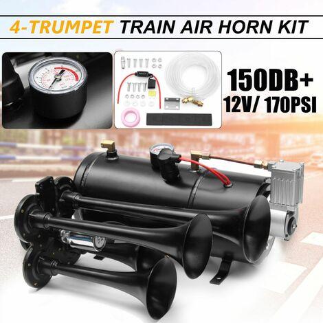Kit Trompette à air 4-Trumpet 170 PSI 12V 3-Liters Compresseur & House