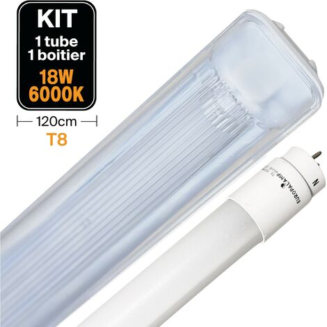 Kit Tube LED T8 18W Blanc Froid + Boitier Etanche 120cm - KIT18W6000K