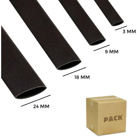 Kit Tubo Termoretráctil 4 Diámetros Negro Contracción 3:1 Negro - Negro
