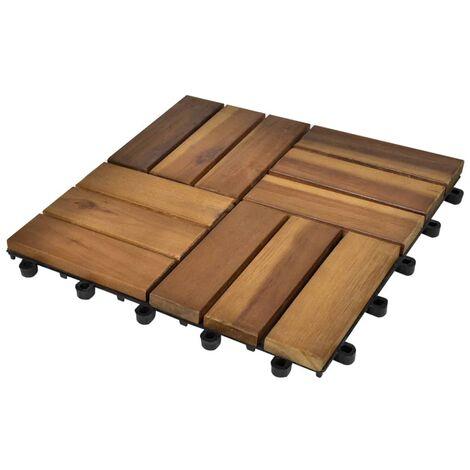 Kit tuiles de plancher en acacia 30 x 30 cm 20 pcs