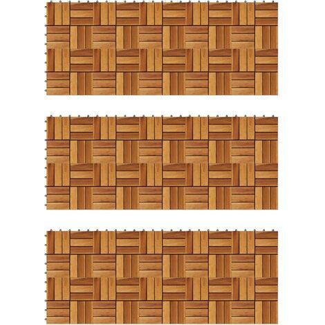Kit tuiles de plancher en acacia 30 x 30 cm 30 pcs