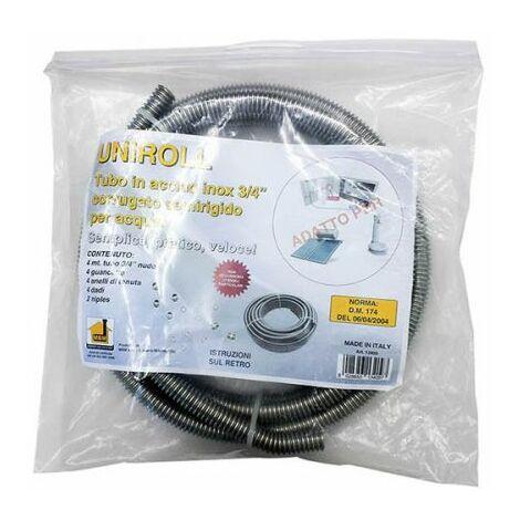 """Kit tuyau eau inoxydable 4 mt. 3/4"""" avec 4 connecteurs F"""