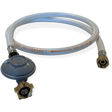 Kit Tuyau flexible de gaz 1,5 m à embouts mécaniques + Détendeur Butane 28mbar 1,3kg/h ? Normes NF