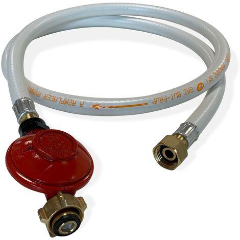 Kit Tuyau flexible de gaz 1,5 m à embouts mécaniques + Détendeur Propane 37mbar 1,5kg/h – Normes NF
