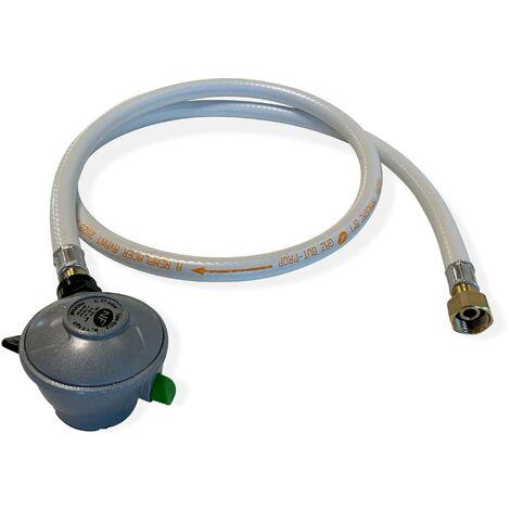 Kit Tuyau flexible de gaz 1,5 m à embouts mécaniques + Détendeur Quick-on Ø20mm Propane 37mbar 1,5kg/h, raccord rapide – Normes NF