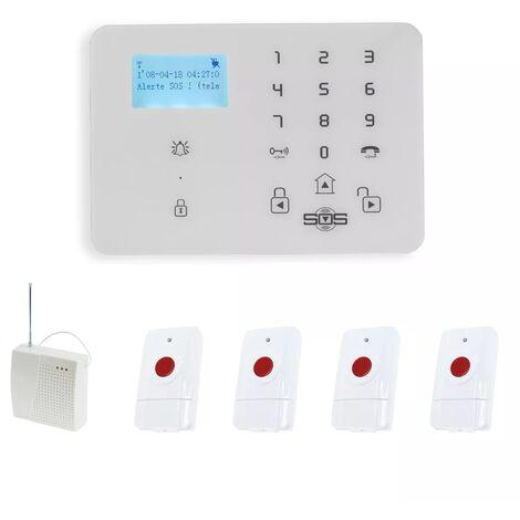 Kit urgence GSM 2G+3G avec 4 boutons paniques longue portée sans-fil 200-400m (gamme KP)