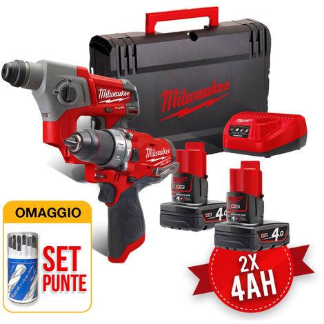 Kit utensili a batteria Milwaukee 12V M12 FPP2B-402X Trapano M12FPD + Tassellatore M12CH con OMAGGIO