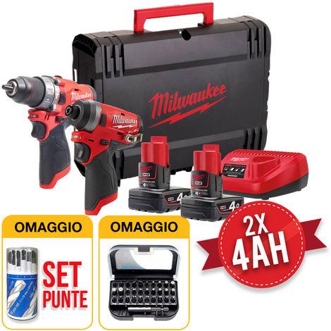 Kit utensili Milwaukee M12 FPP2A-402X - Trapano M12FPD + Avvitatore ad impulsi M12FID - 2 Batterie 4Ah con OMAGGIO