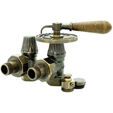 Kit vanne manuelle avec Poignée bois pour radiateur Fonte