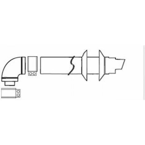 KIT VENTOUSE HORIZONTAL OPTIMA-V SFB - Ventouse horizontale (avec coude de départ) et terminal horizontal, tube Ø 60/100, longueur 1 m