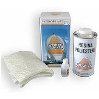 Kit vetroresina lasav resina poliestere liquida + foglio fibra di vetro 750 ml
