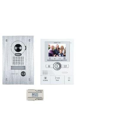 Kit vidéo couleur, mémoire d'images, mains libres, grand angle avec zoom, platine encastrée
