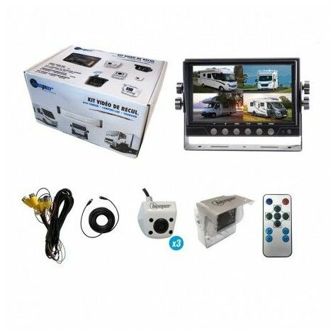 Kit vidéo de recul avec 4 caméras blanches & écran Quad LCD 7'' 598.33