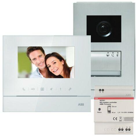 Kit vidéo mains libres couleur Welcome M prêt à poser - Ecran 4,3 pouces - Blanc - ABB