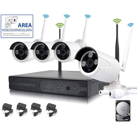 KIT VIDEOSORVEGLIANZA WIRELESS FULL HD IP 4 TELECAMERE 2 MPX 500 GB WIFI DA REMOTO SENZA FILI