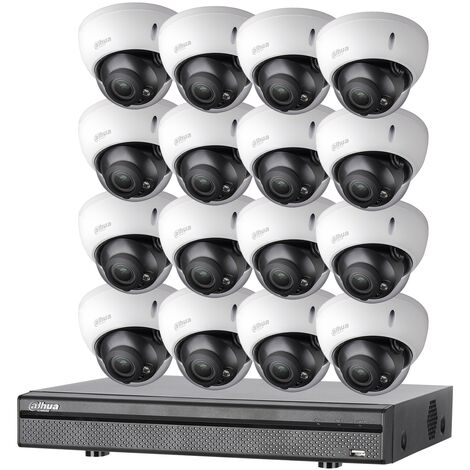 Kit vidéosurveillance 16 caméras anti-vandalisme + enregistreur 1080p Dahua - Noir