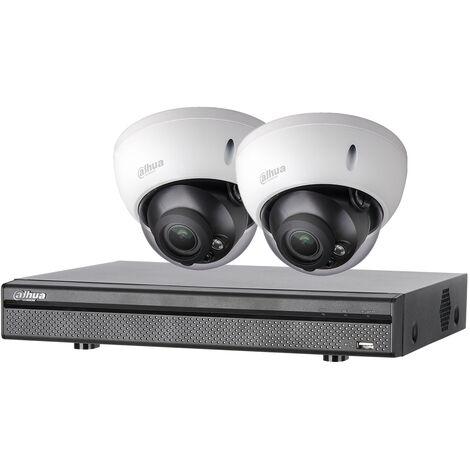 Kit vidéosurveillance 2 caméras anti-vandalisme + enregistreur  1080p  Vision nocturne 30m - Dahua - Noir