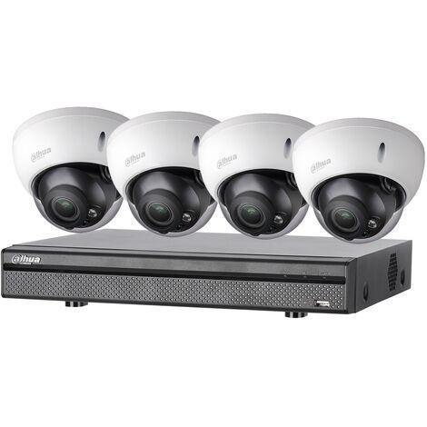 Kit vidéosurveillance 4 caméras anti-vandalisme + enregistreur 1080p Vision nocturne 30m - Dahua - Noir