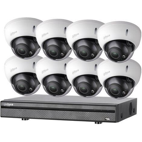 Kit vidéosurveillance 8 caméras anti-vandalisme + enregistreur 1080p Dahua - Noir