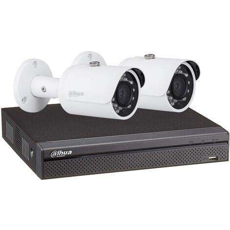 Kit vidéosurveillance enregistreur éco + 2 caméras compactes 1080P - Dahua - Blanc