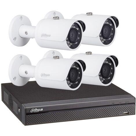 Kit vidéosurveillance enregistreur éco + 4 caméras compactes 1080P - Dahua - Blanc