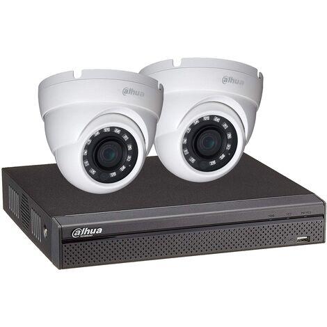 Kit vidéosurveillance enregistreur éco et 2 caméras dôme 1080p - Dahua - Blanc