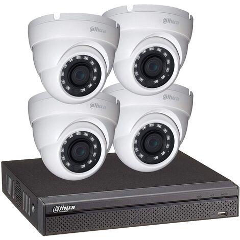 Kit vidéosurveillance enregistreur éco et 4 caméras dôme 1080p - Dahua - Blanc