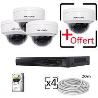 Kit vidéosurveillance IP 4 caméras dômes HIKVision