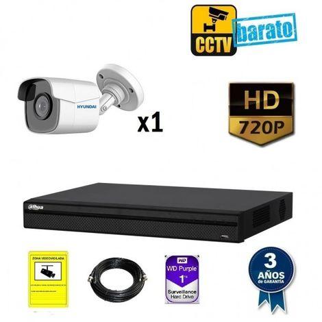 Kit videovigilancia 1 cámara bullet HD óptica fija más grabador de 4 canales