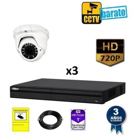 Kit videovigilancia 1 cámara domo varifocal HD óptica fija más grabador de 4 canales
