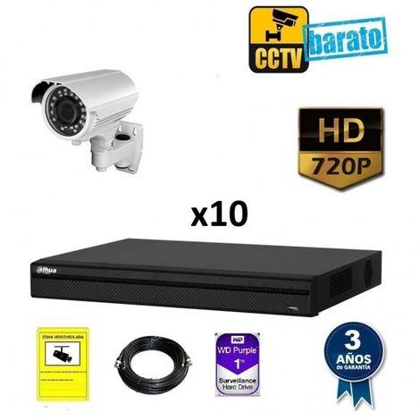Kit videovigilancia 10 cámaras bullet varifocal HD óptica varifocal más grabador de 16 canales