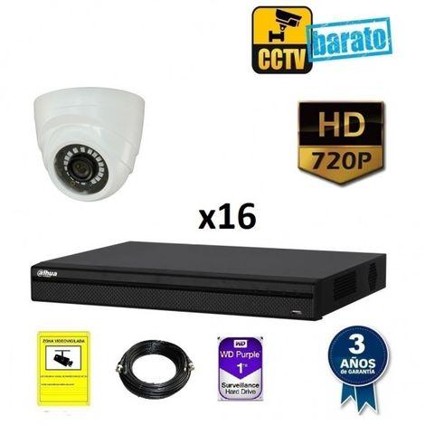 Kit videovigilancia 16 cámaras domo interior HD y grabador de 16 canales