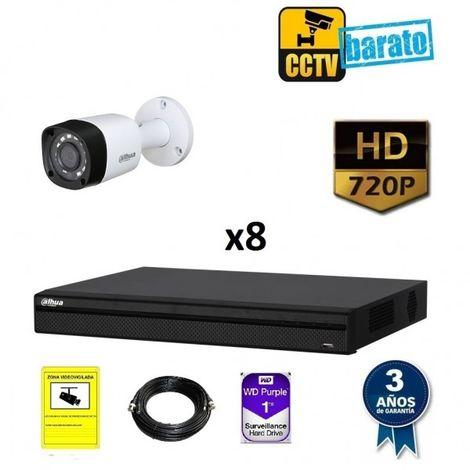 Kit videovigilancia 8 cámaras bullet HD óptica fija más grabador de 8 canales
