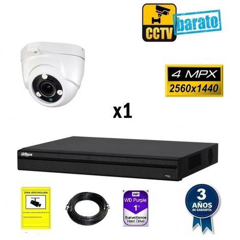 Kit videovigilancia FULL HD 1 cámara domo 4Mpx varifocal y grabador de 4 canales
