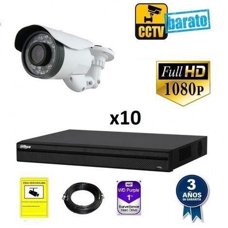 Kit videovigilancia FULL HD 10 cámaras varifocal largo alcance y grabador de 16 canales
