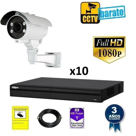 Kit videovigilancia FULL HD 10 cámaras varifocal y grabador de 16 canales
