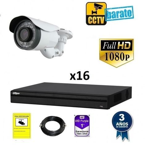 Kit videovigilancia FULL HD 16 cámaras varifocal largo alcance y grabador de 16 canales