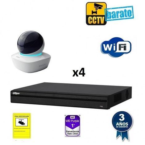 Kit videovigilancia IP Wifi 4 cámaras domo motorizada 1.3Mpx óptica fija y grabador de 4 canales