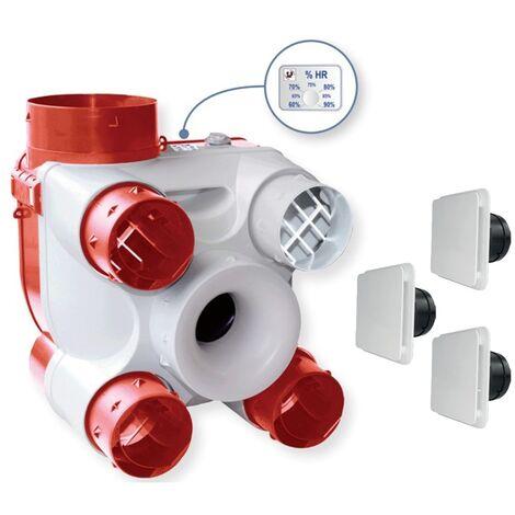 Kit VMC Deco DHU K - Simple flux + sonde hygrométrique - Blanc - Blanc